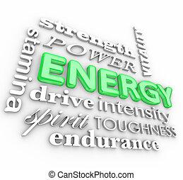 állomány, szó, erő, kollázs, energia, autózás, vitalitás, erély, 3