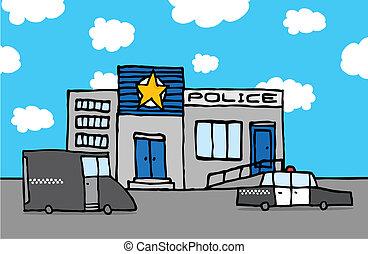 állomás, rendőrség, karikatúra