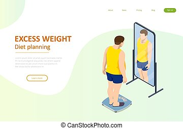 álmodik, karcsú, egészséges, tükör, isometric, háj bábu, maga, élelmiszer, lát, diéta, introduces, planning., fogyás