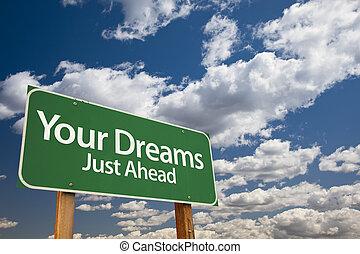 álmodik, zöld, -e, út cégtábla