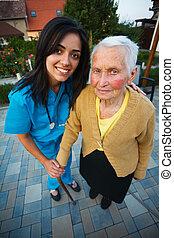 ápoló, nő, öregedő