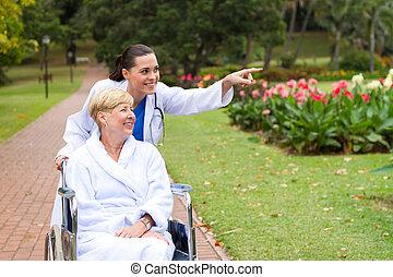 ápoló, törődik, disable, türelmes