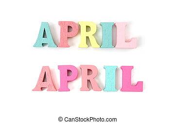 április, abc, irodalomtudomány, elszigetelt, fehér, színes, háttér, szó