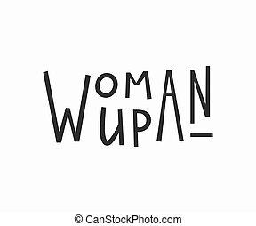 árajánlatot tesz, póló, nő, feláll, lettering.