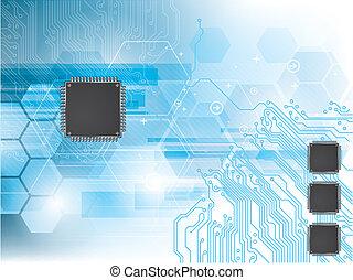 áramkör, adatok processor, háttér, integrált