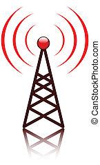 árboc, piros, antenna, aláír