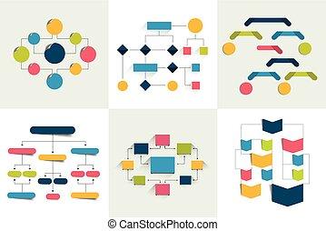 ármánykodik, csupán, 6, flowcharts., diagrams., állhatatos, szín, infographics, táblázatok, editable., elements., folyik