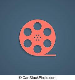 árnyék, cséve, film, piros, ikon