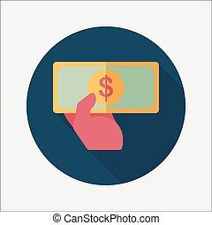 árnyék, pénz, készpénz, bevásárlás, ikon, eps10, lakás, hosszú
