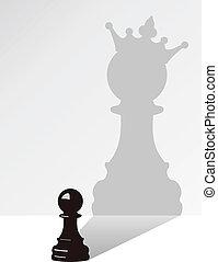 árnyék, vektor, sakkjáték, elzálogosít