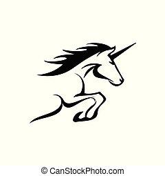 árnykép, ábra, lovak, egyszarvú, szüret, varázslatos, áttekintés, elegáns, black., vektor, kéz, húzott, háttér, ikonok, tattoo.