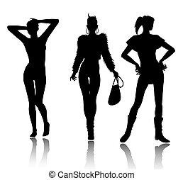 árnykép, állhatatos, nő, mód