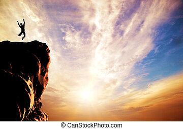 árnykép, öröm, ugrás, napnyugta, csúcs, ember, hegy, szirt
