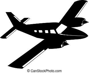 árnykép, aircraft., magán, propeller-driven, twin-engine
