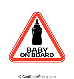 árnykép, autó, böllér, aláír, háttér., bizottság, palack, gyermek, csecsemő, háromszög, fehér, warning., piros