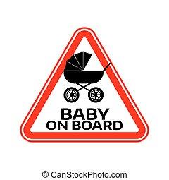 árnykép, autó, böllér, aláír, háttér., kocsi, bizottság, gyermek, csecsemő, háromszög, fehér, warning., piros