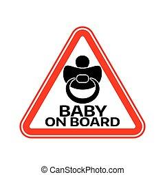 árnykép, autó, böllér, aláír, háttér., mellbimbó, bizottság, gyermek, csecsemő, háromszög, fehér, warning., piros