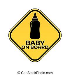 árnykép, autó, böllér, sárga cégtábla, háttér., bizottság, palack, gyermek, csecsemő, fehér, rombusz, warning.