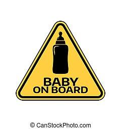 árnykép, autó, böllér, sárga cégtábla, háttér., bizottság, palack, gyermek, csecsemő, háromszög, fehér, warning.