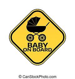 árnykép, autó, böllér, sárga cégtábla, háttér., kocsi, bizottság, gyermek, csecsemő, fehér, rombusz, warning.