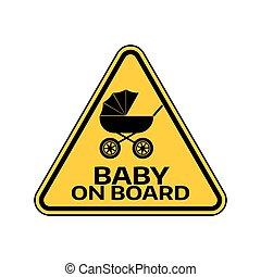 árnykép, autó, böllér, sárga cégtábla, háttér., kocsi, bizottság, gyermek, csecsemő, háromszög, fehér, warning.