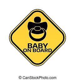 árnykép, autó, böllér, sárga cégtábla, háttér., mellbimbó, bizottság, gyermek, csecsemő, fehér, rombusz, warning.
