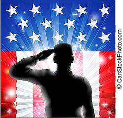 árnykép, bennünket, katona, lobogó, hadi, tiszteleg