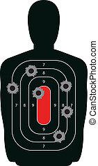 árnykép, céltábla, lövedék kilyukad, pisztoly, lőtávolság, lövés