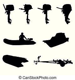 árnykép, csónakázik, motor, outboar