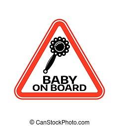 árnykép, csörög, autó, böllér, aláír, háttér., bizottság, gyermek, csecsemő, háromszög, fehér, warning., piros