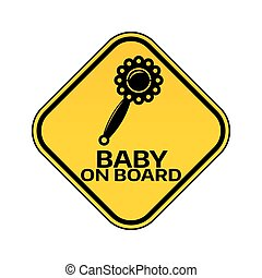árnykép, csörög, autó, böllér, sárga cégtábla, háttér., bizottság, gyermek, csecsemő, fehér, rombusz, warning.