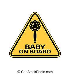 árnykép, csörög, autó, böllér, sárga cégtábla, háttér., bizottság, gyermek, csecsemő, háromszög, fehér, warning.