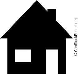 árnykép, egyszerű, épület, silhouette., vektor, icon.