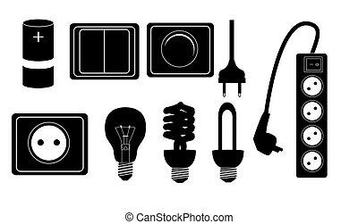 árnykép, elektromos, ikonok, segédszervek, vektor, illustraton