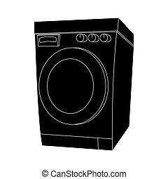 árnykép, elszigetelt, gép, tervezés, háttér, mosás, fehér, karikatúra
