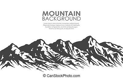 árnykép, elszigetelt, lőtávolság, white., hegy