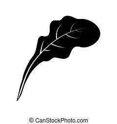 árnykép, elszigetelt, tervezés, háttér, növényi, levél növényen, fehér, ikon