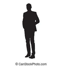 árnykép, elszigetelt, vektor, illeszt, businessman van