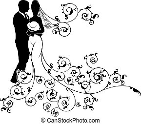 árnykép, esküvő, menyasszony, lovász, párosít