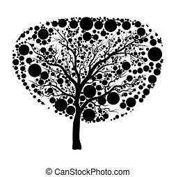 árnykép, fa, elszigetelt, tervezés, háttér, fehér, ikon