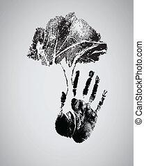 árnykép, fa, handprint, fekete