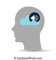 árnykép, fej, beszélő, felhő, zene