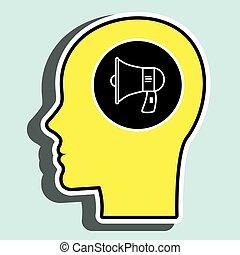 árnykép, fej, beszélő, sárga