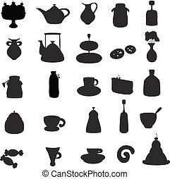 árnykép, fekete tea, icons.