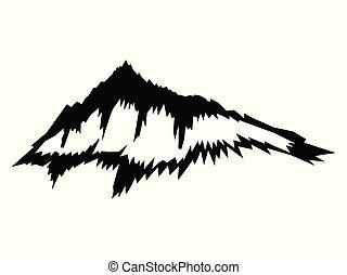 árnykép, fekete, vektor, hegy