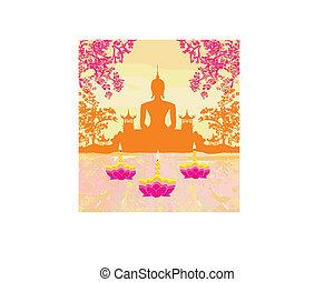árnykép, fesztivál, krathong, buddha, sukhothai, loy