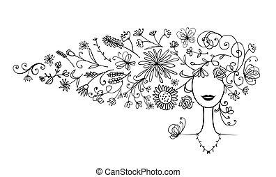 árnykép, frizura, -e, virágos, női, tervezés