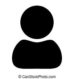 árnykép, háttér., vektor, fekete, fehér, ikon, ember