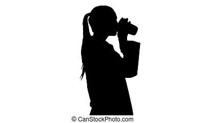 árnykép, ivás, orvos, kávécserje, női, jár.