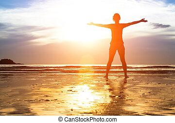 árnykép, kisasszony, tengerpart, gyakorlás, sunset.
